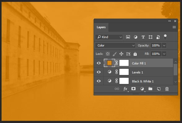 Color will use the hue and saturation of the color fill layer and use the luminosity (brightness) of the layers below